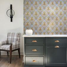Wallpaper textured coverings Victorian Pastel Blue Gold metallic Damask rolls 3D