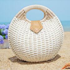 Woman Summer Lady's Stylish Shell Shape Straw Tote Handbags Rattan Beach Bags