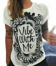 Women Sexy Fashion Short Sleeve Letter Print Loose Shirt Casual Collar Shirt Top