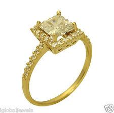 1.75 Ct 14K Yellow Gold Princess Halo Engagement Wedding Propose Promise Ring