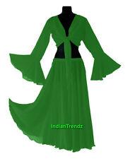 Emerald Green - Belly Dance Chiffon Skirt + Top Set Ruffle Tie Gypsy Dress Jupe