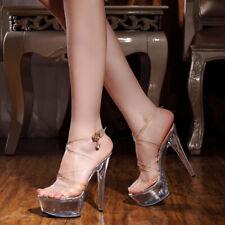 Nightclub Women's Stage Shoes Transparent Crystal Sexy Lady High Heels Stilettos