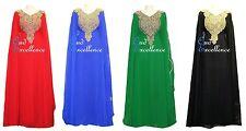 Totalmente Forrado que fluye árabe Farasha en varios colores-Maxi Vestido Kaftan Eid