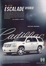 2009 Cadillac Escalade Hybrid - intelligent -  Vintage Advertisement Ad A34-B