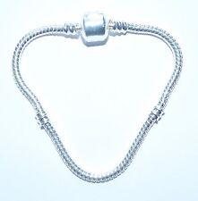 European charm snake clip chain, silver plated copper, 16,17,18,19,20,21,22 cm*