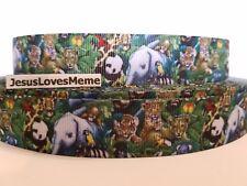 Grosgrain Ribbon, Jungle Animals  Camo Elephant Panda Bear Tiger Lion Monkey 7/8