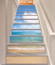 3D Waves Sea Cloud Stair Risers Decoration Photo Mural Vinyl Decal Wallpaper CA