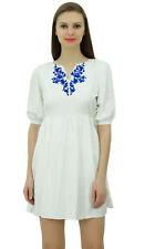 design chic féminin Bimba robe blanche d'été courte wit tunique broderie florale