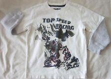 Boy Size 4 Ivory Gray Long Sleeve OshKosh B'Gosh Bike Racing Shirt CUTE!