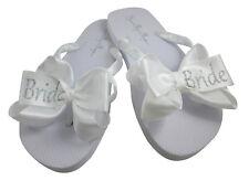 White & Silver Bride Glitter Bow Flip Flops, Choose Colors, Flat Bridal Shoes