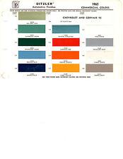 1960 1961 1962 1963 1964 CORVAIR 95 CHEVROLET TRUCK PAINT CHIPS 14PC62 DITZLER 9