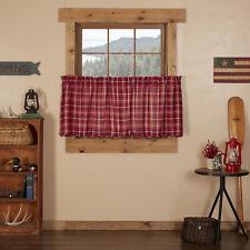 VHC Rustic Tier Pair Braxton Kitchen Curtains Rod Pocket Red Cotton Plaid