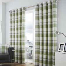 Eyelet Ring Top Curtains Balmoral Check Green