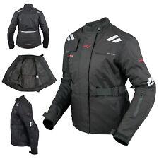 Giacca Donna Moto Impermeabile Tessuto Protezioni CE Viaggio Nero
