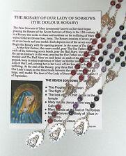 Dolour Rosary with laminated Prayer card CHOICE OF GEMSTONE BEADS