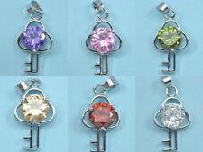 6x CZ Crystal Diamante Silver Tone Key Pendants Charms Beads