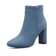 botas bajo zapatos alto 9 cm azul elegantes como piel 9449