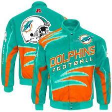 NWT Miami Dolphins NFL Men's Aqua Shred Cotton Twill Jacket 4XL - 6XL