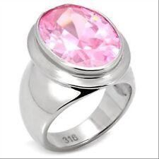 Bague acier 316L orné d'un zircon rose, bijou pour femme neuf, taille au choix
