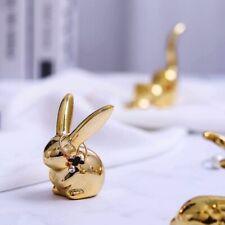 Ceramic Cute Gold White Rabbit Fox Figurines Porcelain Table Home Decoration