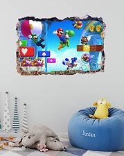 Mario Bros Game Smashed 3D Wall Decal Kids Mural Art Home Decor Vinyl DA109
