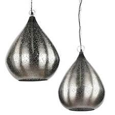 ORIENTLAMPE orientalische Hängelampe Silber Tropfen indische Deckenlampe | 2 Gr.