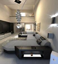 Interior Design Presto U-Shaped Grey Luxury Couch Led Corner Sofa Fabric
