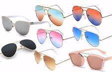 Ladies or Men Fashion Sunglasses Rose Gold Mirror & 2-Tone Pink Blue Orange Aqua