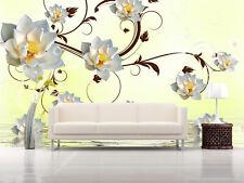 3D Blanc Fleurs 928 Photo Papier Peint en Autocollant Murale Plafond Chambre Art