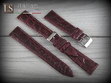 Cinturino in Pelle LS COCCODRILLO Piatto Lucido 18 20 Watch Strap Band Bordeaux