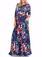 Plus Size Floral Boho Pocket Maxi Dress Fit Flare Navy Blue Pink Purple