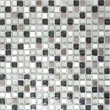 Glasmosaik/Stahl silber/schwarz Wand Sauna Bad Küche WC | 92-0207_f | 10 Matten