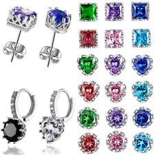 Charm Unisex Women Mens Crown Heart Round Crystal Zircon Earrings Stud Jewelry