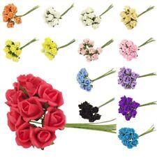 Bunch of 10 Foam Rose Buds - Artificial Flowers Fake Silk Wedding Craft