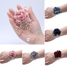 Girls Bridesmaid Wrist Flowers Wedding Prom Corsage Bracelet Hand Flower Wedding