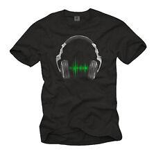 VINTAGE ELECTRO DJ MEN MUSIC SHIRT WITH HEADPHONES - SHORTSLEEVE PARTY VINYL TEE