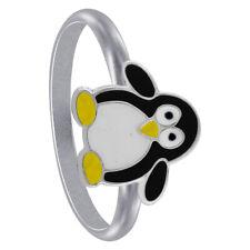 925 Sterling Silver Black Enamel Penguin kids Animal Ring Size 3 - 5