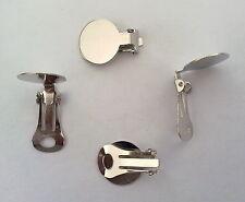 2 CHIUSURE PER ORECCHINI A CLIP ACCIAIO PIASTRINA BASE 15 mm nickel free