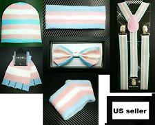 Men Women Transgender Pride Flag Suspender Bow Tie Beanie Gloves Wristband New