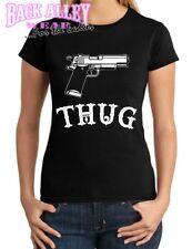 Ladies THUG JUNIORS T-Shirt Tee ~ Tattoos & Gun ~ Gangster Gangsta 9MM 45 40