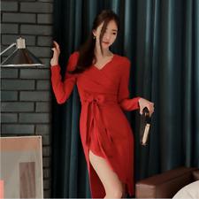 Elegante vestito abito corto rosso spacco tubino maniche lunghe comodo 3949 d7b91b5f28f