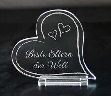 Acryl Herz Gravur Beste Eltern der Welt Wunschtext Geschenk Geburtstag Muttertag