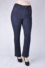 Women Plus size short  Stetch denim BOOT LEG jeans CLASSIC dark rinse wash WG073