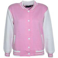 Kids Girls Baseball Baby Pink Jacket Varsity Style Plain School Jacket Top 5-13Y