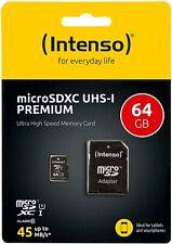 Intenso Premium Micro SD Karte 16GB 32GB 64GB Adapter Class 10 Speicherkarte UHS