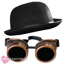 STEAMPUNK BRONZE GOGGLES + BLACK BOWLER HAT VICTORIAN SCI-FI FANCY DRESS COSTUME