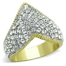 1562 V banda de forma Cluster elegante Diamante Anillo De La Eternidad Oro simulado para Mujer