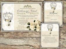 PERSONALISED RUSTIC DAMASK & IVORY ROSE WEDDING INVITATIONS PACKS OF 10
