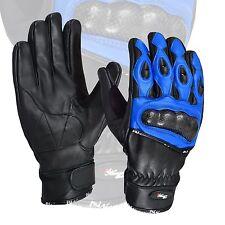 Blue Premium Leather Summer Motorcycle Motorbike Gloves Cowhide