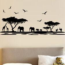 Sticker Décor Nature Afrique, Eléphants, Girafes, 15x34 cm et 30x67 cm (AFRI004)